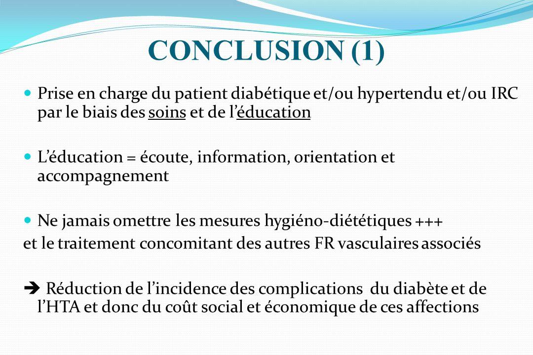 Prise en charge du patient diabétique et/ou hypertendu et/ou IRC par le biais des soins et de léducation Léducation = écoute, information, orientation