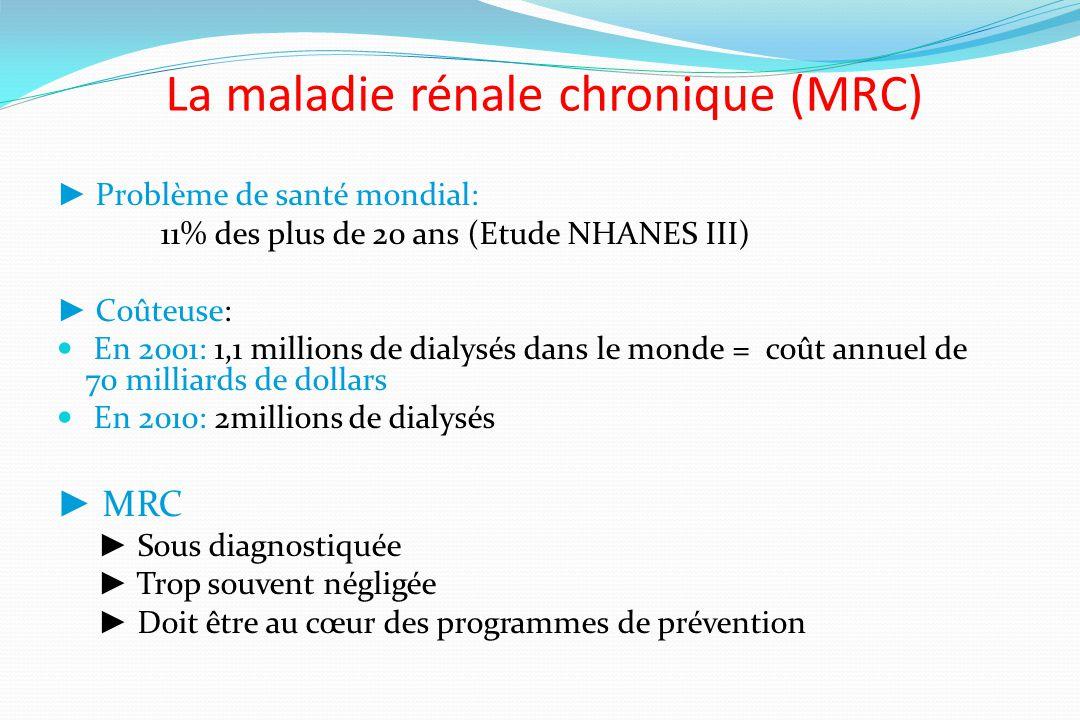 La maladie rénale chronique (MRC) Problème de santé mondial: 11% des plus de 20 ans (Etude NHANES III) Coûteuse: En 2001: 1,1 millions de dialysés dan