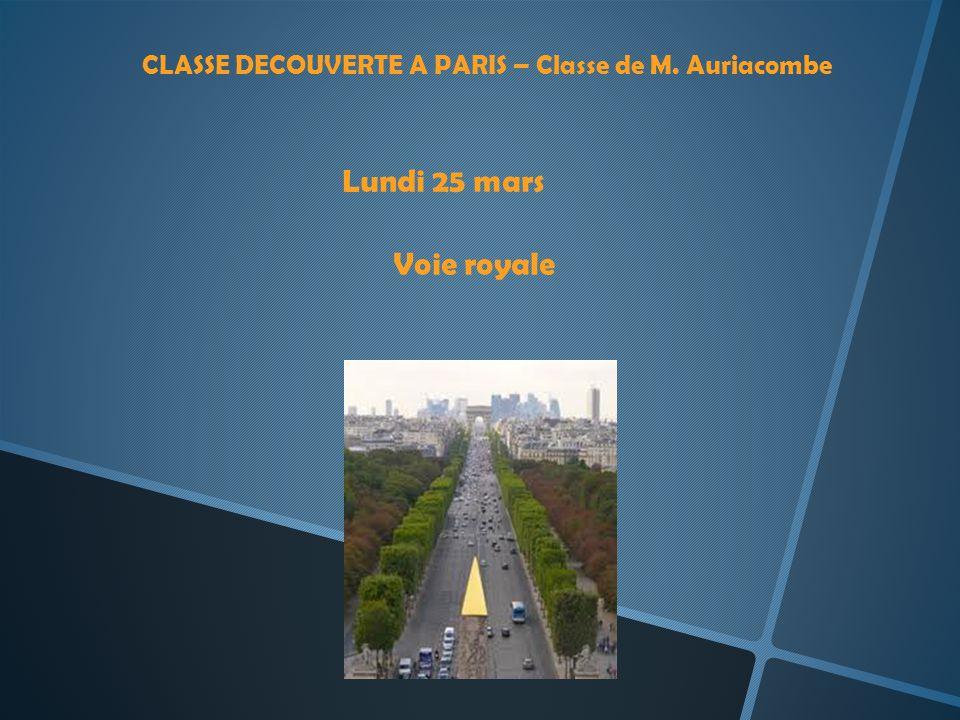 CLASSE DECOUVERTE A PARIS – Classe de M. Auriacombe Lundi 25 mars Voie royale