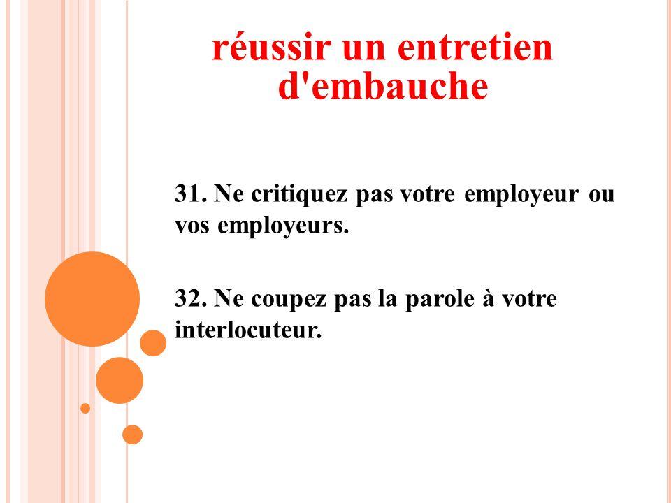 31. Ne critiquez pas votre employeur ou vos employeurs. 32. Ne coupez pas la parole à votre interlocuteur. réussir un entretien d'embauche