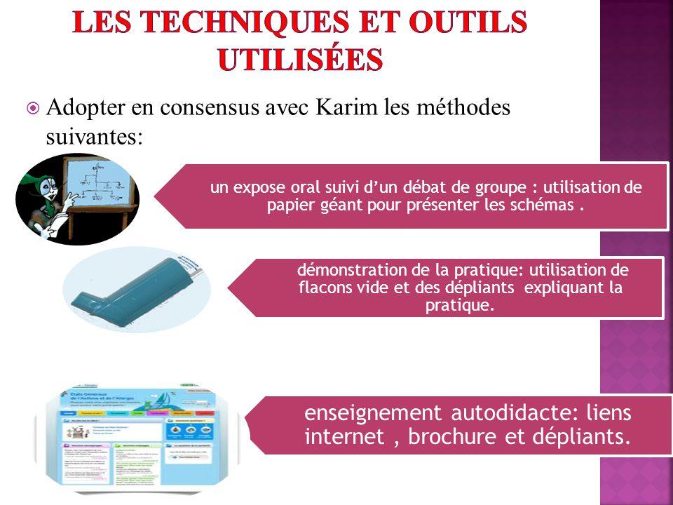 Adopter en consensus avec Karim les méthodes suivantes: un expose oral suivi dun débat de groupe : utilisation de papier géant pour présenter les schémas.