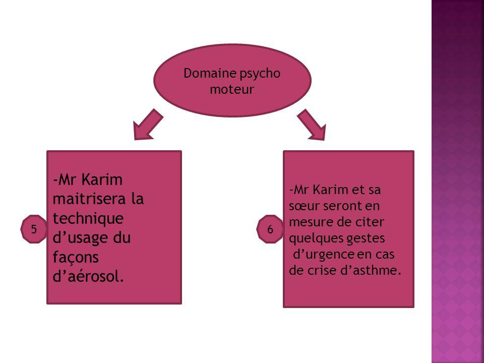 Domaine psycho moteur -Mr Karim maitrisera la technique dusage du façons daérosol.