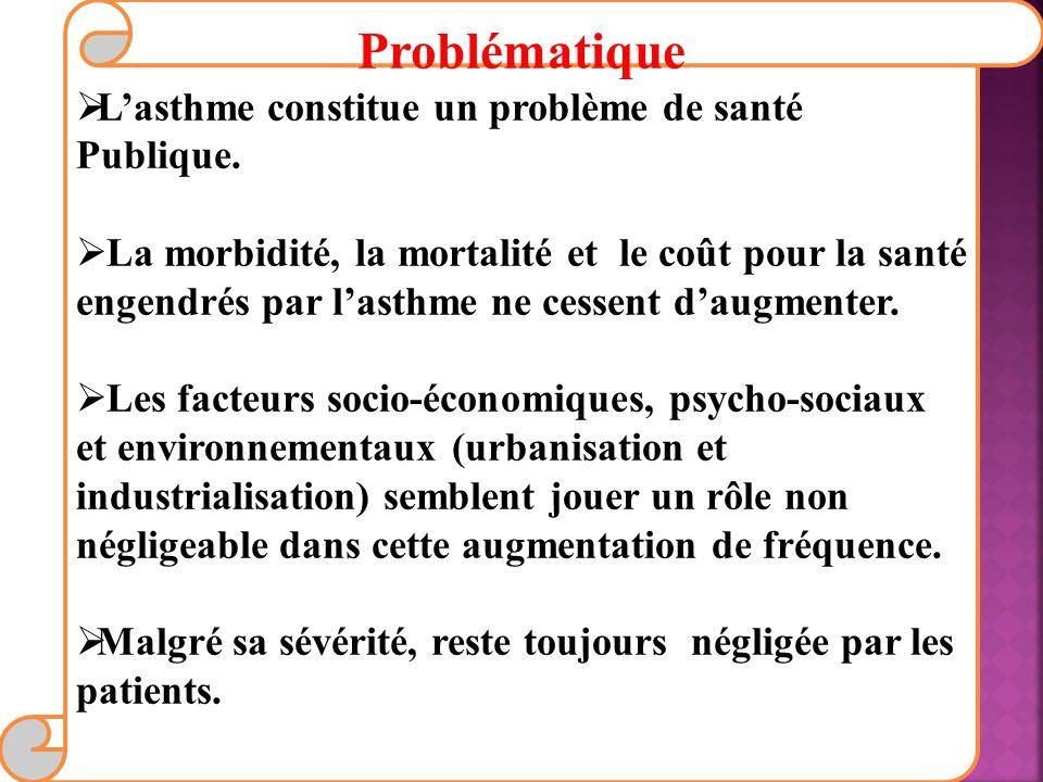 Problématique Lasthme constitue un problème de santé Publique.