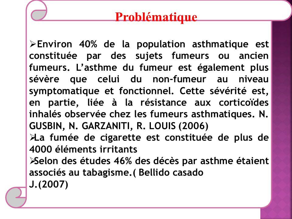 Problématique Environ 40% de la population asthmatique est constituée par des sujets fumeurs ou ancien fumeurs.