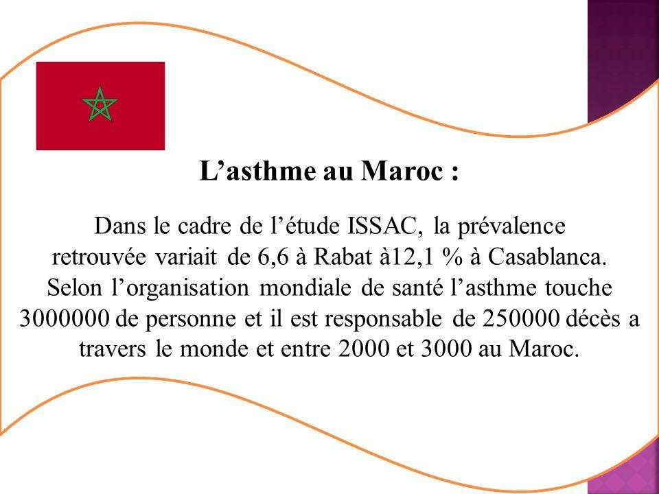 Lasthme au Maroc : Dans le cadre de létude ISSAC, la prévalence retrouvée variait de 6,6 à Rabat à12,1 % à Casablanca.