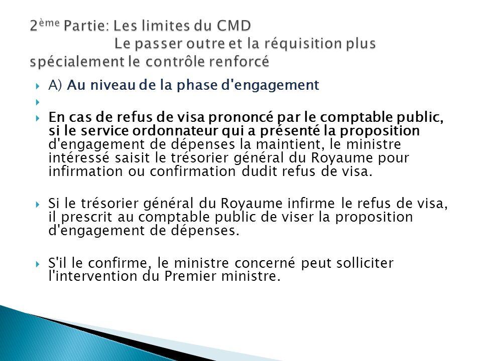 A) Au niveau de la phase d'engagement En cas de refus de visa prononcé par le comptable public, si le service ordonnateur qui a présenté la propositio