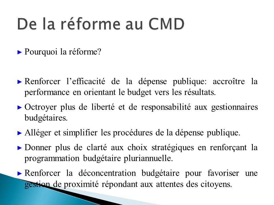 Pourquoi la réforme? Renforcer lefficacité de la dépense publique: accroître la performance en orientant le budget vers les résultats. Octroyer plus d