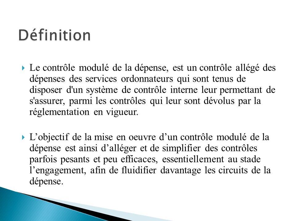Le contrôle modulé de la dépense, est un contrôle allégé des dépenses des services ordonnateurs qui sont tenus de disposer d'un système de contrôle in