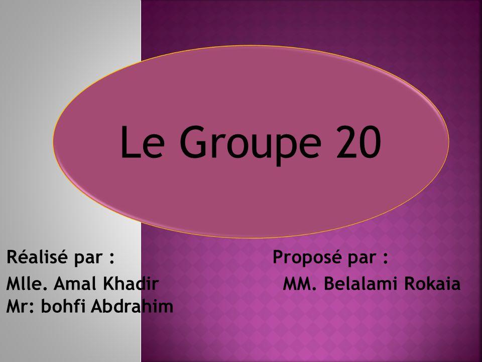 Réalisé par : Proposé par : Mlle. Amal Khadir MM. Belalami Rokaia Mr: bohfi Abdrahim Le Groupe 20