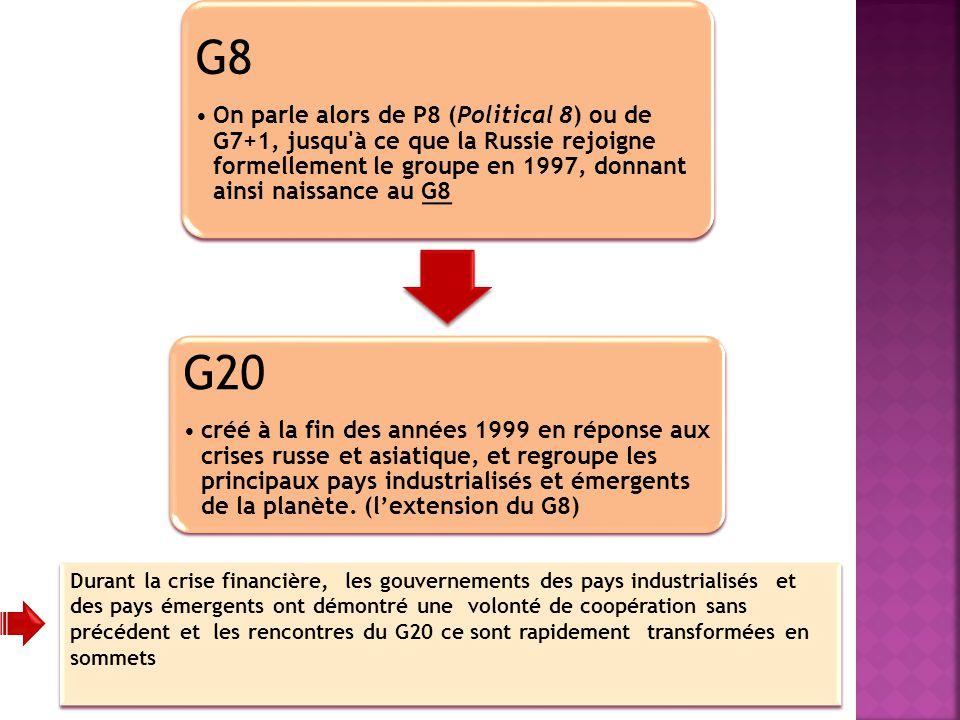 G8 On parle alors de P8 (Political 8) ou de G7+1, jusqu'à ce que la Russie rejoigne formellement le groupe en 1997, donnant ainsi naissance au G8 G20