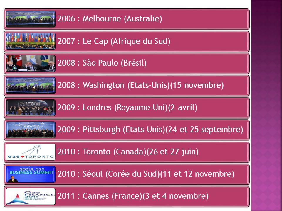 2006 : Melbourne (Australie) 2007 : Le Cap (Afrique du Sud) 2008 : São Paulo (Brésil) 2008 : Washington (Etats-Unis)(15 novembre) 2009 : Londres (Roya