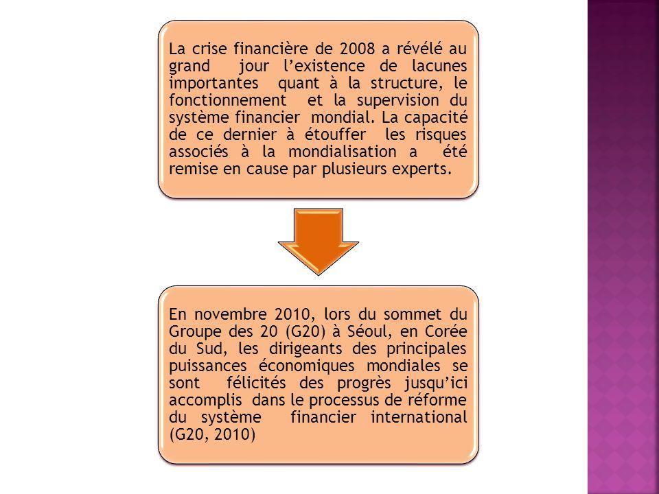 La crise financière de 2008 a révélé au grand jour lexistence de lacunes importantes quant à la structure, le fonctionnement et la supervision du syst
