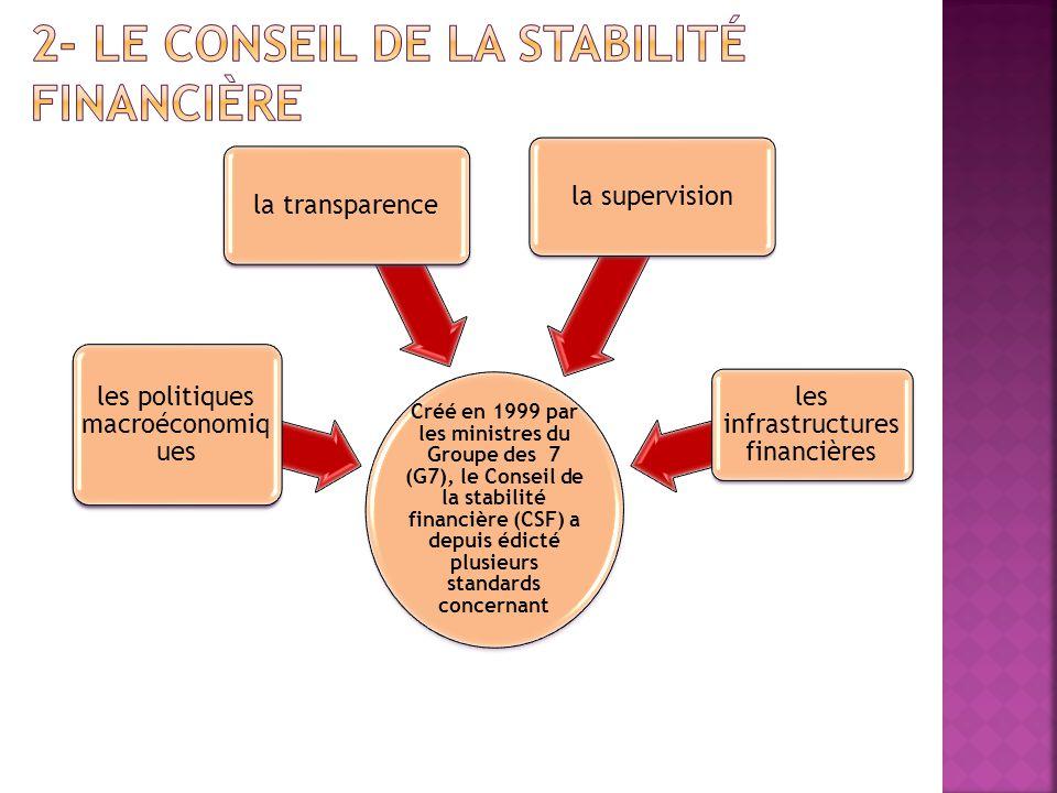 Créé en 1999 par les ministres du Groupe des 7 (G7), le Conseil de la stabilité financière (CSF) a depuis édicté plusieurs standards concernant les po
