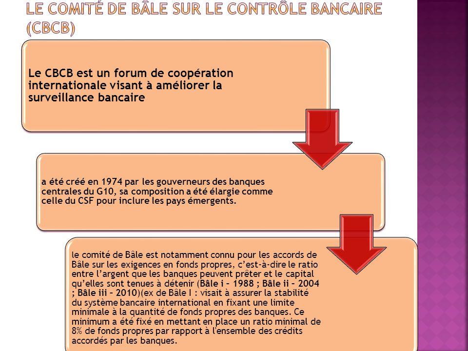 Le CBCB est un forum de coopération internationale visant à améliorer la surveillance bancaire a été créé en 1974 par les gouverneurs des banques cent