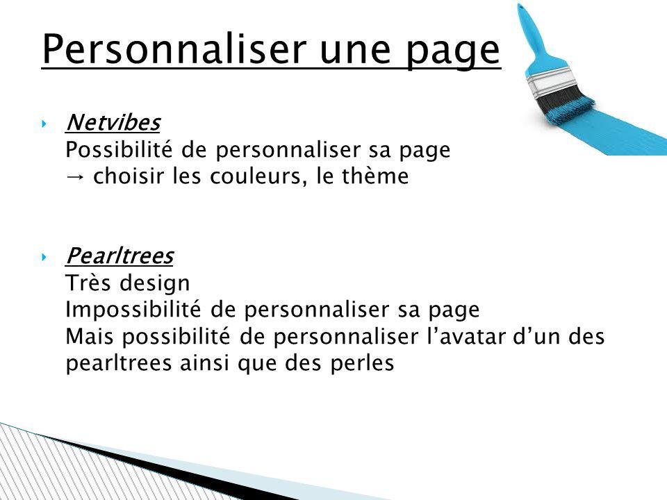 Personnaliser une page Netvibes Possibilité de personnaliser sa page choisir les couleurs, le thème Pearltrees Très design Impossibilité de personnali