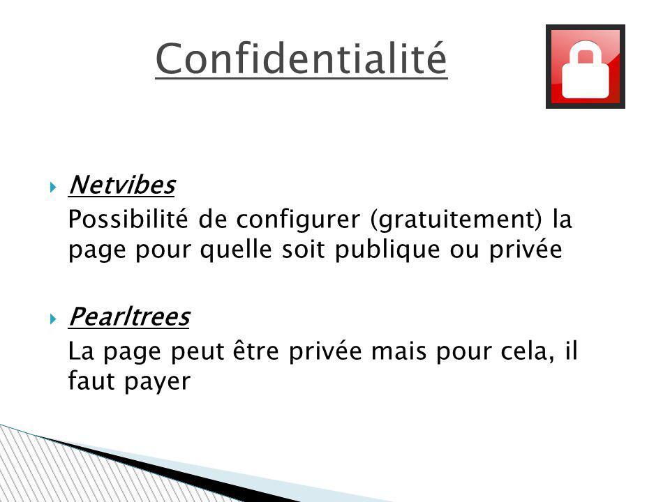 Netvibes Possibilité de configurer (gratuitement) la page pour quelle soit publique ou privée Pearltrees La page peut être privée mais pour cela, il f