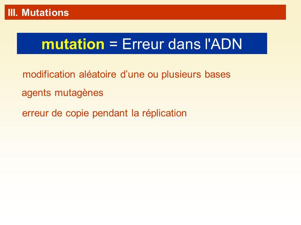 mutation = Erreur dans l'ADN III. Mutations erreur de copie pendant la réplication modification aléatoire dune ou plusieurs bases agents mutagènes