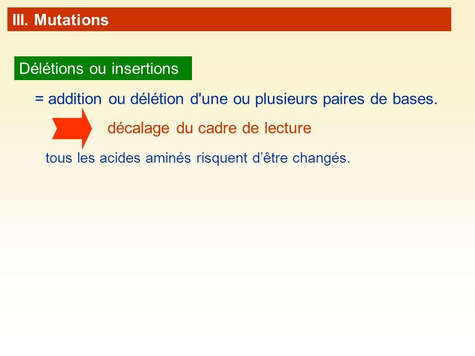 III. Mutations Délétions ou insertions = addition ou délétion d'une ou plusieurs paires de bases. tous les acides aminés risquent dêtre changés. décal