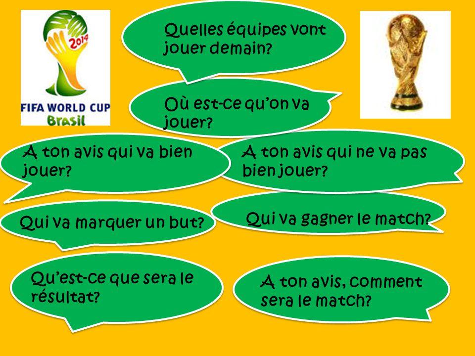 Jeudi le 12 juin le Brésil va jouer contre la Croatie. On va jouer au stade Sao Paulo à Sao Paulo. Selon moi Neymar va bien jouer pour le Brésil et Lu