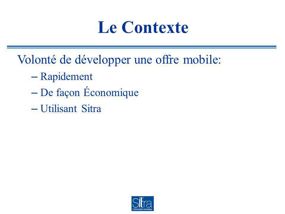 Le Contexte Volonté de développer une offre mobile: – Rapidement – De façon Économique – Utilisant Sitra