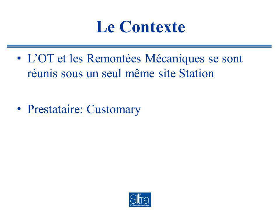 Le Contexte LOT et les Remontées Mécaniques se sont réunis sous un seul même site Station Prestataire: Customary