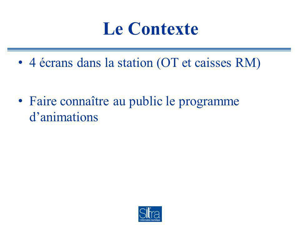 Le Contexte 4 écrans dans la station (OT et caisses RM) Faire connaître au public le programme danimations