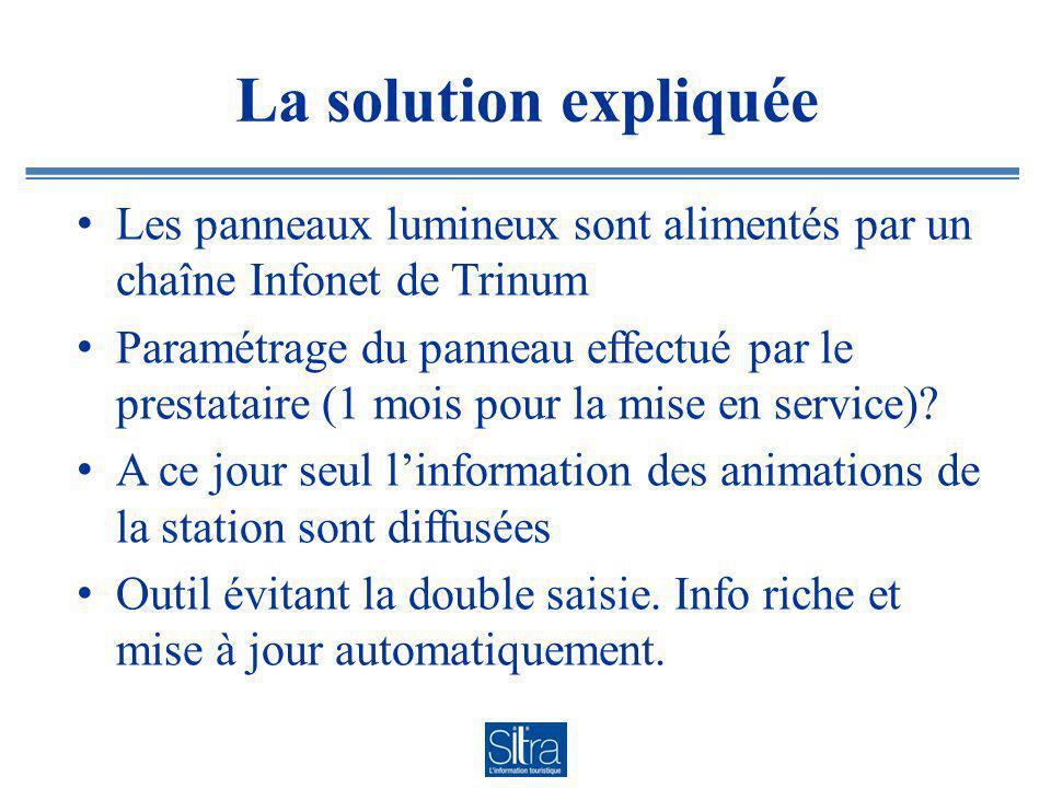 La solution expliquée Les panneaux lumineux sont alimentés par un chaîne Infonet de Trinum Paramétrage du panneau effectué par le prestataire (1 mois pour la mise en service).