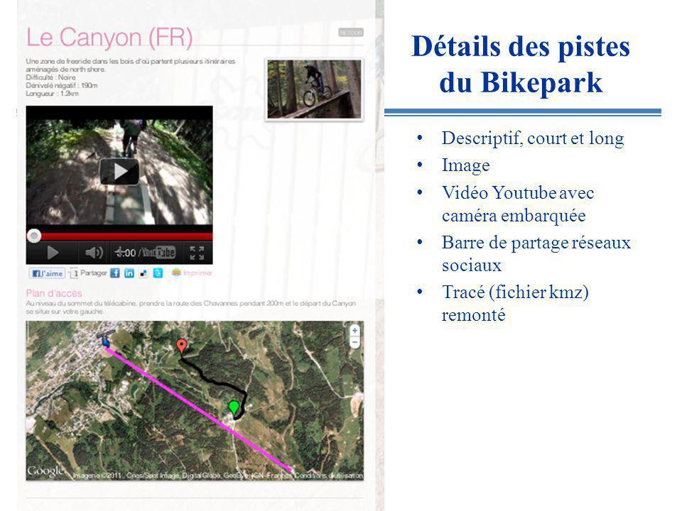 Détails des pistes du Bikepark Descriptif, court et long Image Vidéo Youtube avec caméra embarquée Barre de partage réseaux sociaux Tracé (fichier kmz) remonté