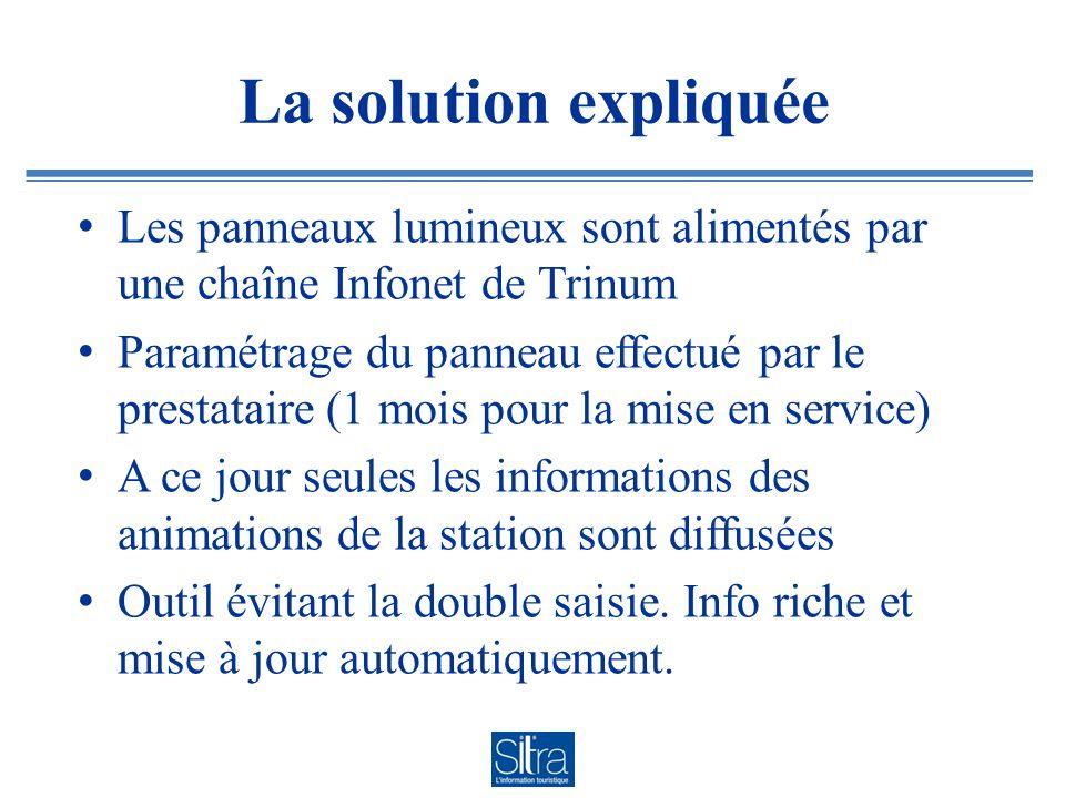 La solution expliquée Les panneaux lumineux sont alimentés par une chaîne Infonet de Trinum Paramétrage du panneau effectué par le prestataire (1 mois