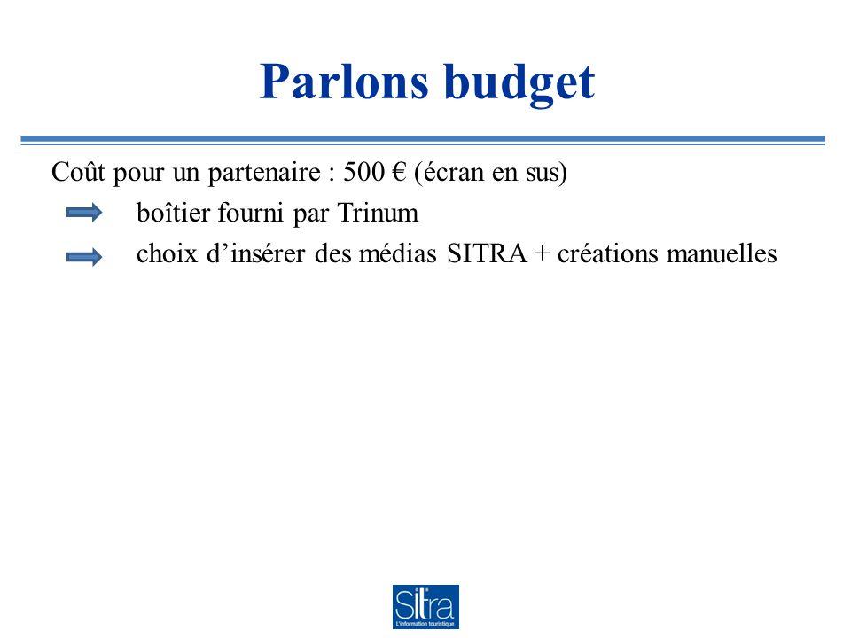 Parlons budget Coût pour un partenaire : 500 (écran en sus) boîtier fourni par Trinum choix dinsérer des médias SITRA + créations manuelles
