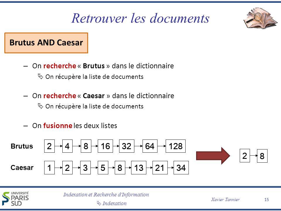 Indexation et Recherche d'Information Indexation Xavier Tannier Retrouver les documents Brutus AND Caesar – On recherche « Brutus » dans le dictionnai