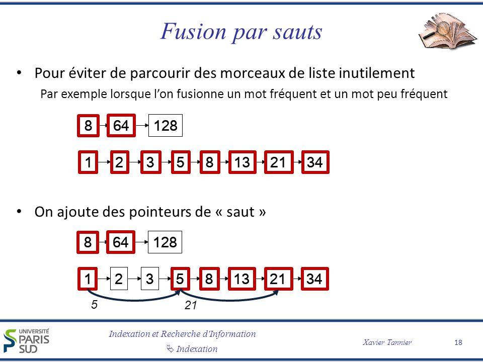Indexation et Recherche d'Information Indexation Xavier Tannier Fusion par sauts Pour éviter de parcourir des morceaux de liste inutilement Par exempl