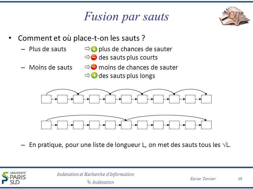 Indexation et Recherche d'Information Indexation Xavier Tannier Fusion par sauts Comment et où place-t-on les sauts ? – Plus de sauts plus de chances