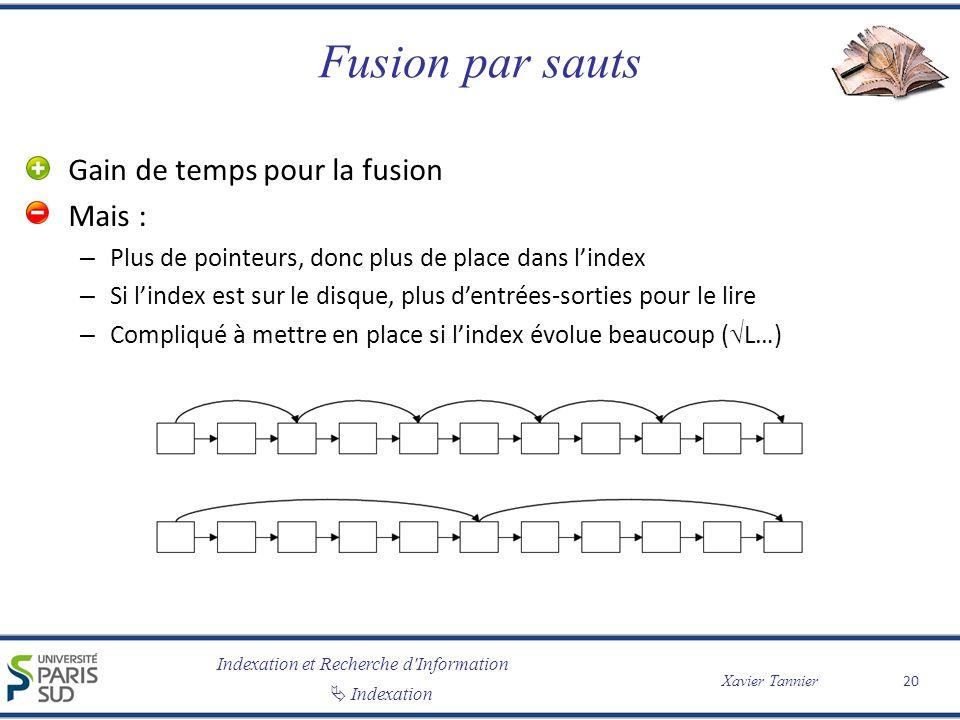Indexation et Recherche d'Information Indexation Xavier Tannier Fusion par sauts Gain de temps pour la fusion Mais : – Plus de pointeurs, donc plus de