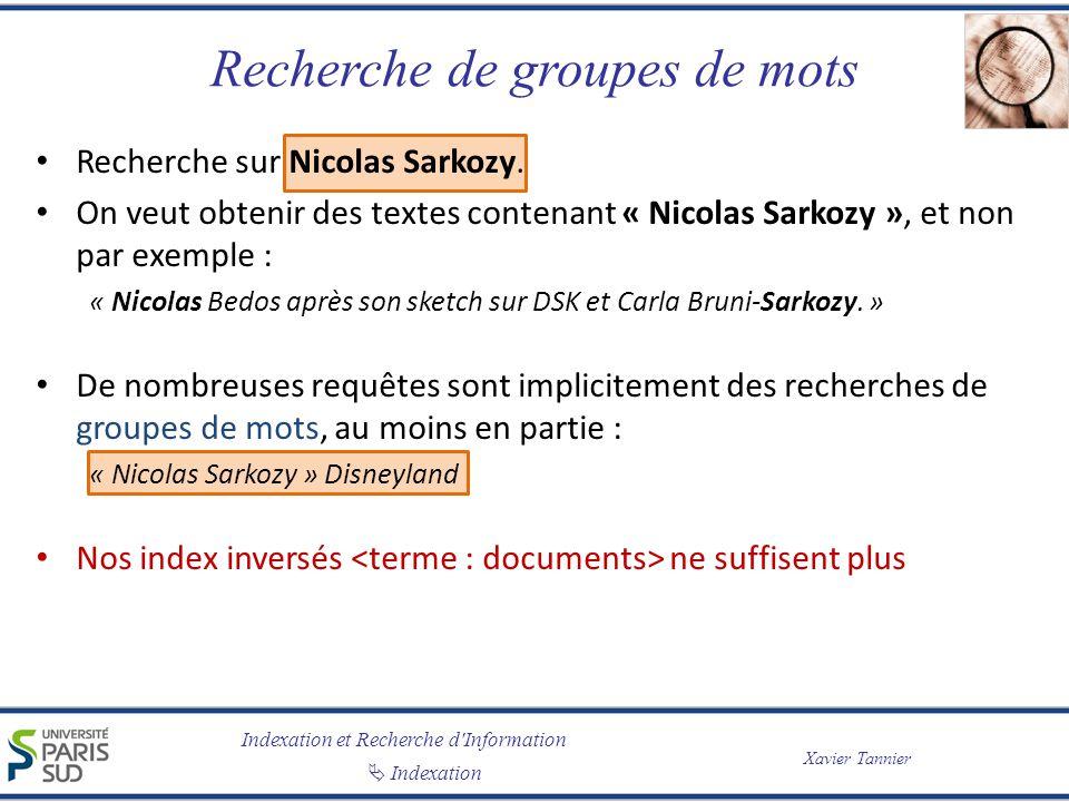 Indexation et Recherche d'Information Indexation Xavier Tannier Recherche de groupes de mots Recherche sur Nicolas Sarkozy. On veut obtenir des textes