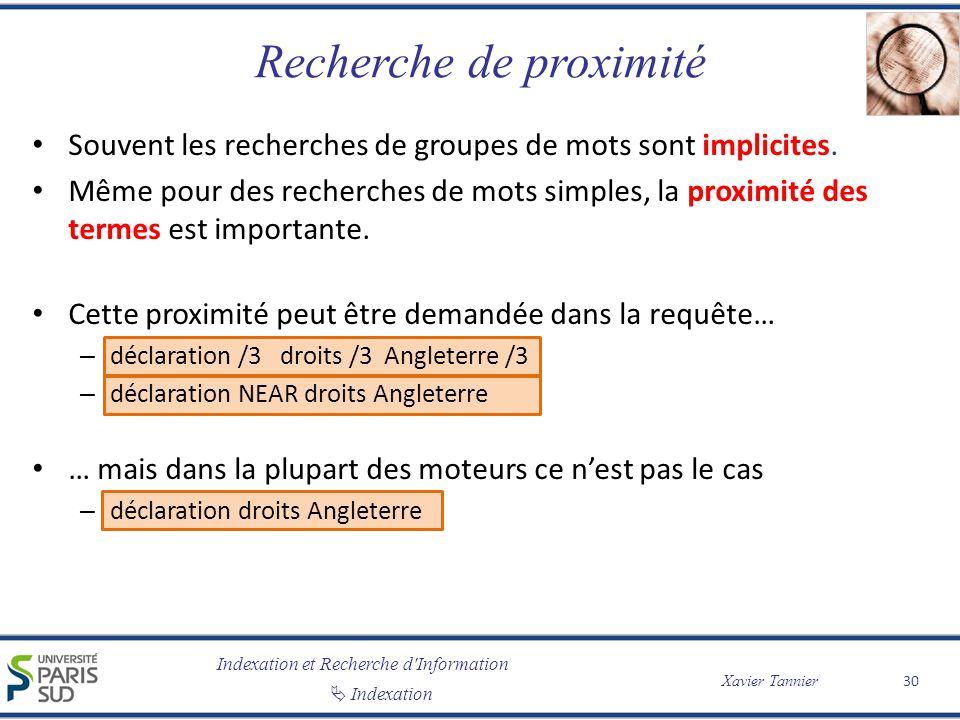 Indexation et Recherche d'Information Indexation Xavier Tannier Recherche de proximité Souvent les recherches de groupes de mots sont implicites. Même