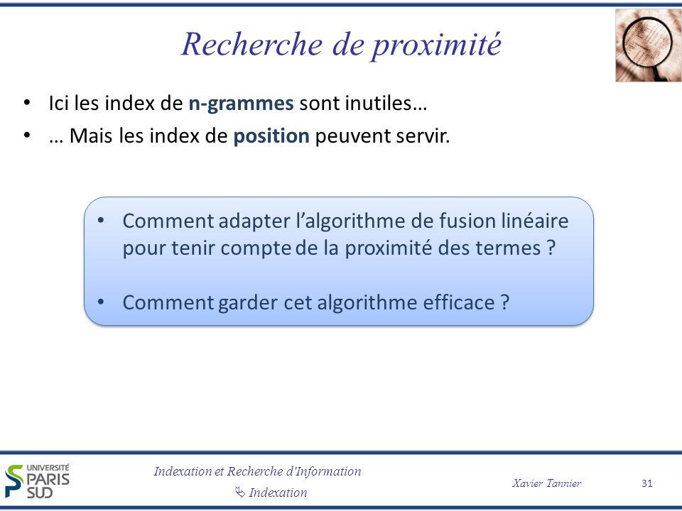 Indexation et Recherche d'Information Indexation Xavier Tannier Recherche de proximité Ici les index de n-grammes sont inutiles… … Mais les index de p