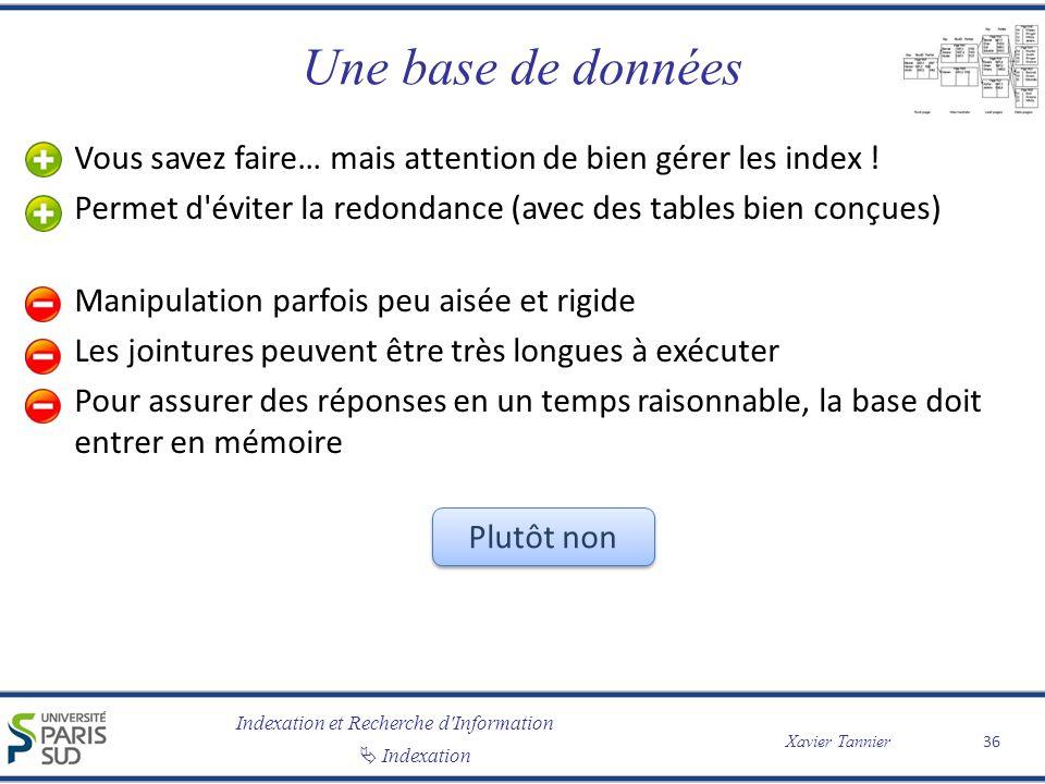 Indexation et Recherche d'Information Indexation Xavier Tannier Une base de données Vous savez faire… mais attention de bien gérer les index ! Permet