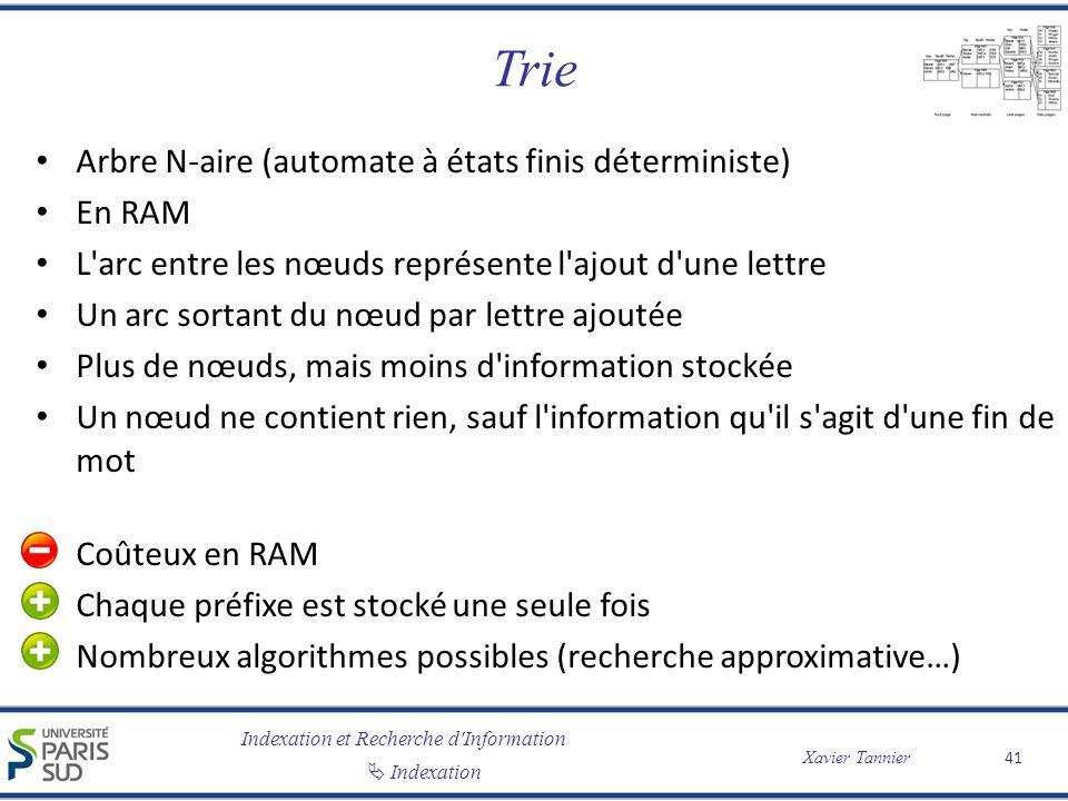 Indexation et Recherche d'Information Indexation Xavier Tannier Trie Arbre N-aire (automate à états finis déterministe) En RAM L'arc entre les nœuds r