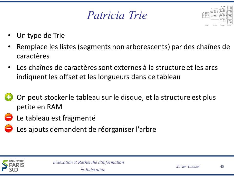 Indexation et Recherche d'Information Indexation Xavier Tannier Patricia Trie Un type de Trie Remplace les listes (segments non arborescents) par des