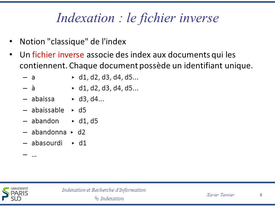 Indexation et Recherche d'Information Indexation Xavier Tannier Indexation : le fichier inverse Notion