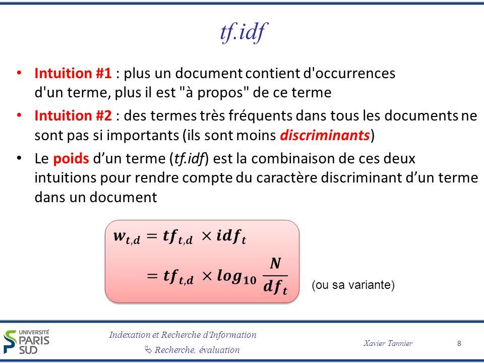 Indexation et Recherche d Information Xavier Tannier Recherche, évaluation 0.45 D Modèle vectoriel 19 t3t3 t1t1 t2t2 Q Requête Q : t 1 t 2 t 3 Document D : … t 1 … t 3 … Poids w D,t1 = 0.45 Poids w D,t3 = 0.80 0.80