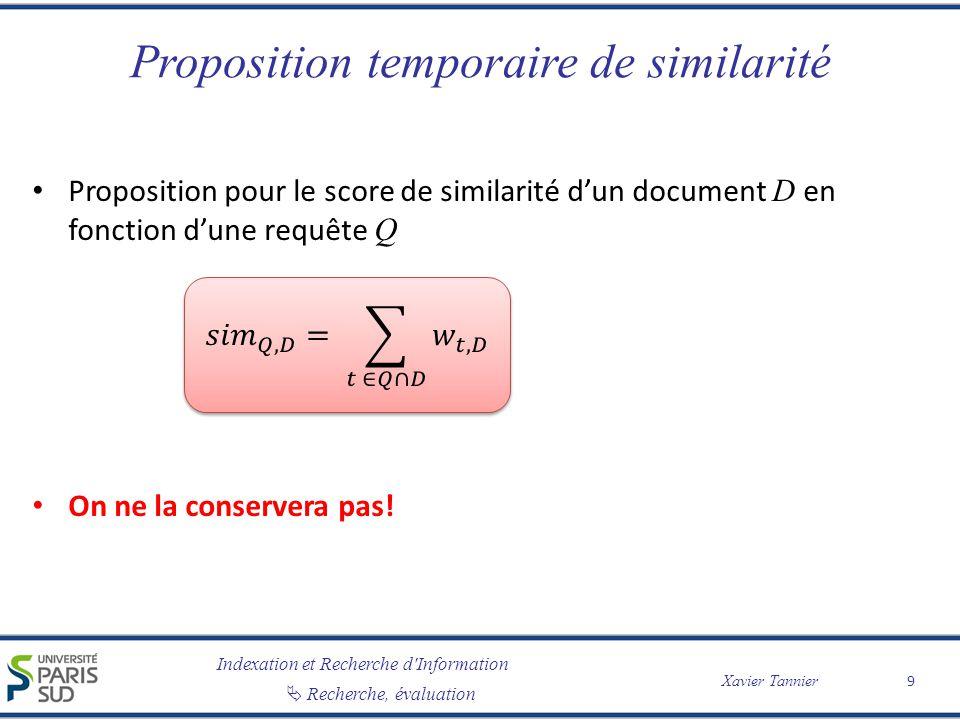 Indexation et Recherche d Information Xavier Tannier Recherche, évaluation Quelle mesure de similarité .