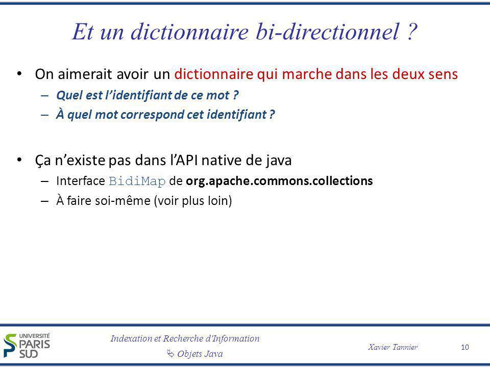Indexation et Recherche d'Information Objets Java Xavier Tannier Et un dictionnaire bi-directionnel ? On aimerait avoir un dictionnaire qui marche dan