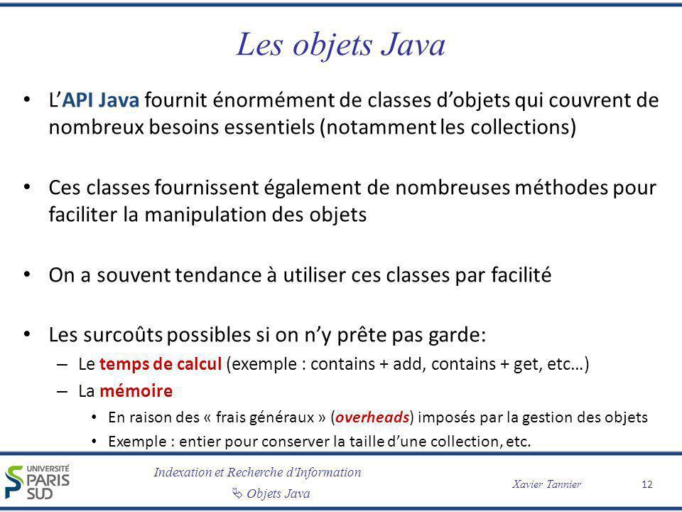 Indexation et Recherche d'Information Objets Java Xavier Tannier Les objets Java LAPI Java fournit énormément de classes dobjets qui couvrent de nombr