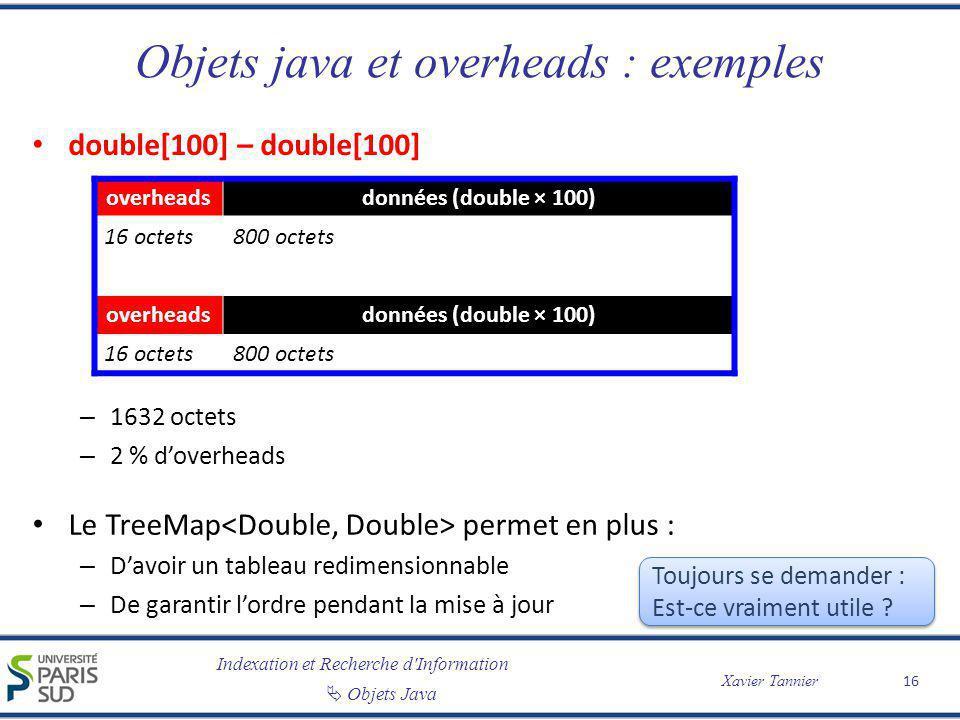Indexation et Recherche d'Information Objets Java Xavier Tannier Objets java et overheads : exemples double[100] – double[100] – 1632 octets – 2 % dov