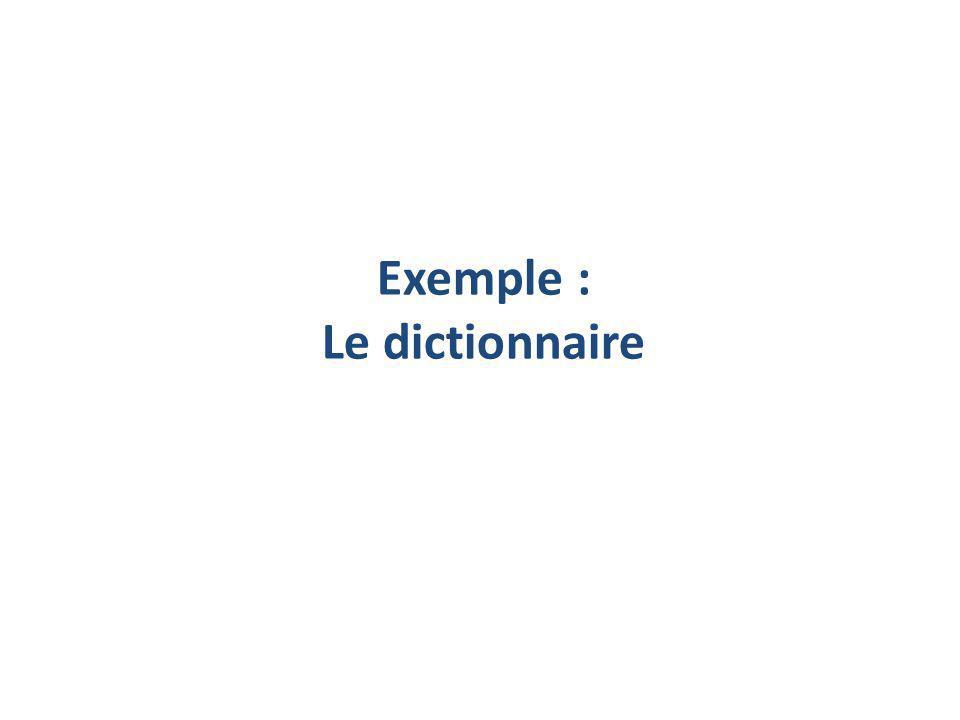 Exemple : Le dictionnaire
