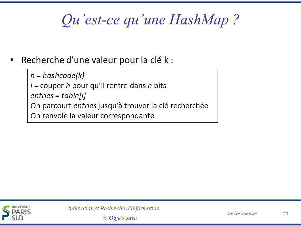 Indexation et Recherche d'Information Objets Java Xavier Tannier Quest-ce quune HashMap ? Recherche dune valeur pour la clé k : h = hashcode(k) i = co