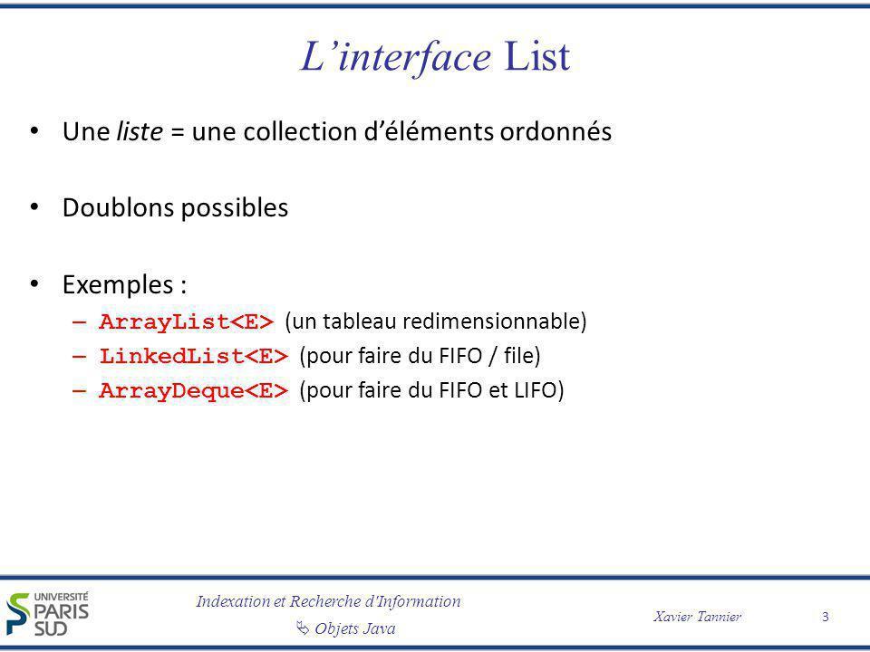 Indexation et Recherche d'Information Objets Java Xavier Tannier Linterface List Une liste = une collection déléments ordonnés Doublons possibles Exem