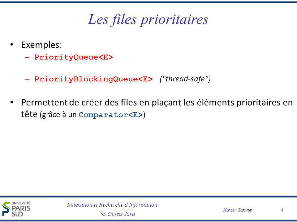 Indexation et Recherche d'Information Objets Java Xavier Tannier Les files prioritaires Exemples: – PriorityQueue – PriorityBlockingQueue (